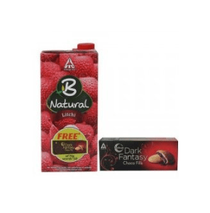 Amazon – Buy B-natural Fruit Juice, Litchi, 1000ml with Free Dark Fantasy Chocofills, 75g at Rs.74 only