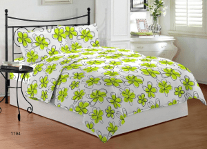 Bombay Dyeing Ambrosia 130 TC Cotton Double Bedsheet with 2 Pillow Covers - Green