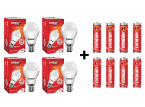 Flipkart – Eveready 9 W B22 LED Bulb (White, Pack of 4) + 8 Free Batteries at Rs 359 only