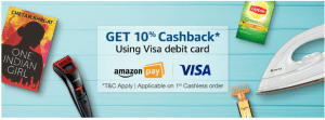 Get 10% Cashback On 1st Cashless Order Using Visa Debit Card