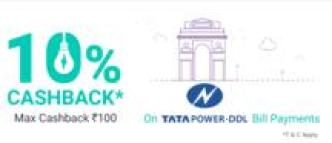 PhonePe- Get Flat 10% cashback on Tata Power DDL Electricity Bill payment (Max Rs 100)
