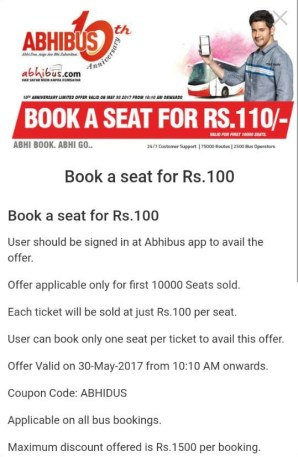 (Live at 10:10 AM, Today)Abhibus – Book a Bus ticket at Just Rs.110