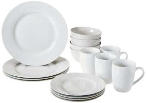 Amazon- Buy AmazonBasics 16-Piece Dinnerware Set, Round – White for Rs 1149