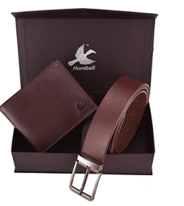Hornbull Men's Brown Wallet and Belt Combo