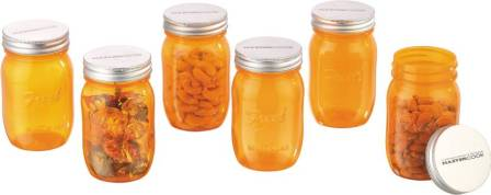 MasterCook Fresh Mason Jar - 500 ml Plastic Food Storage (Pack of 6, Orange)