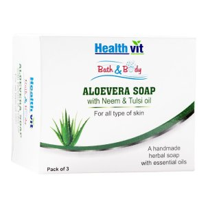 Amazon- Buy Healthvit Bath & Body Aloevera With Neem & Tulsi Oil 75g - Pack of 3 for Rs 99 only