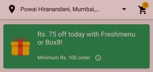 Aero App- Get Flat 75 off on Box8 & Freshmenu order worth Rs 100 & above