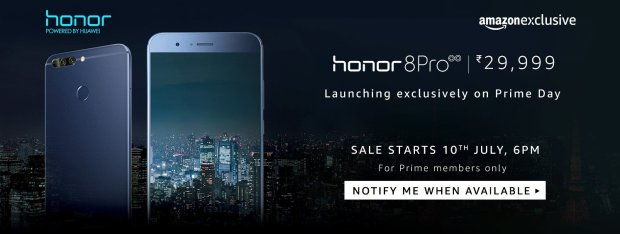 Amazon- Buy Honor 8 Pro from Rs 29999 on 10th July 2017, 6 PM