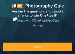 amazon photography quiz answer 5 questions and win oneplus 5 31st july