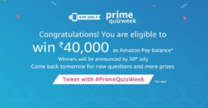 amazon prime week answer all quiz questions