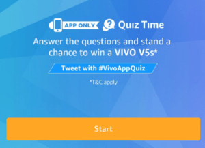 amazon quiz time contest answer 5 questions and 3 winners get Vivo V5