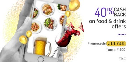 Little is offering Flat 40% Cashback upto Rs 400 on All Food & Drinks.