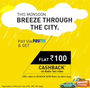 meru paytm offer rs.100 cashback