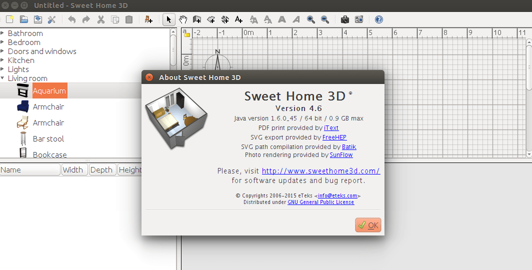 Sweet home 3d a free interior design application for linux 3d design application