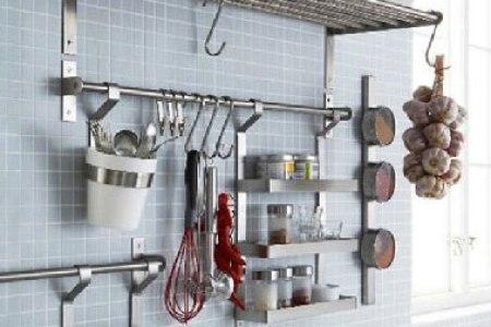rangement cuisine avec barre et etagere ikea