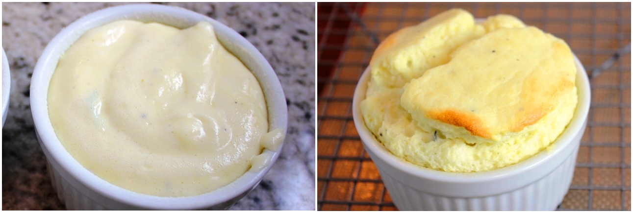 Souffle before + after first bake