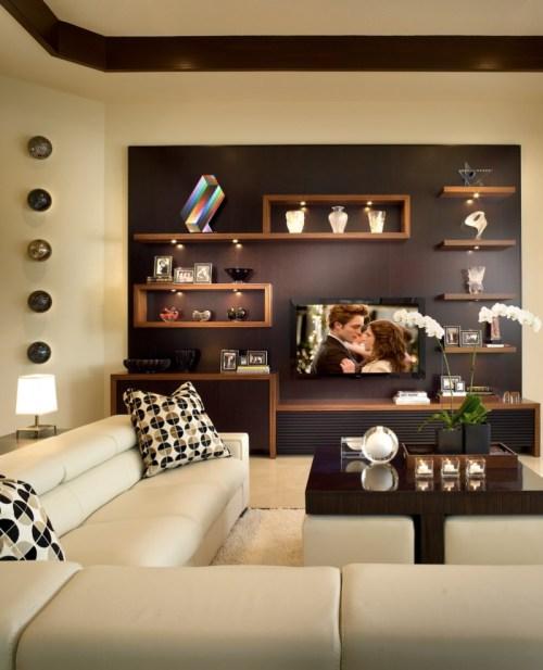 Medium Of Wall Shelves In Living Room