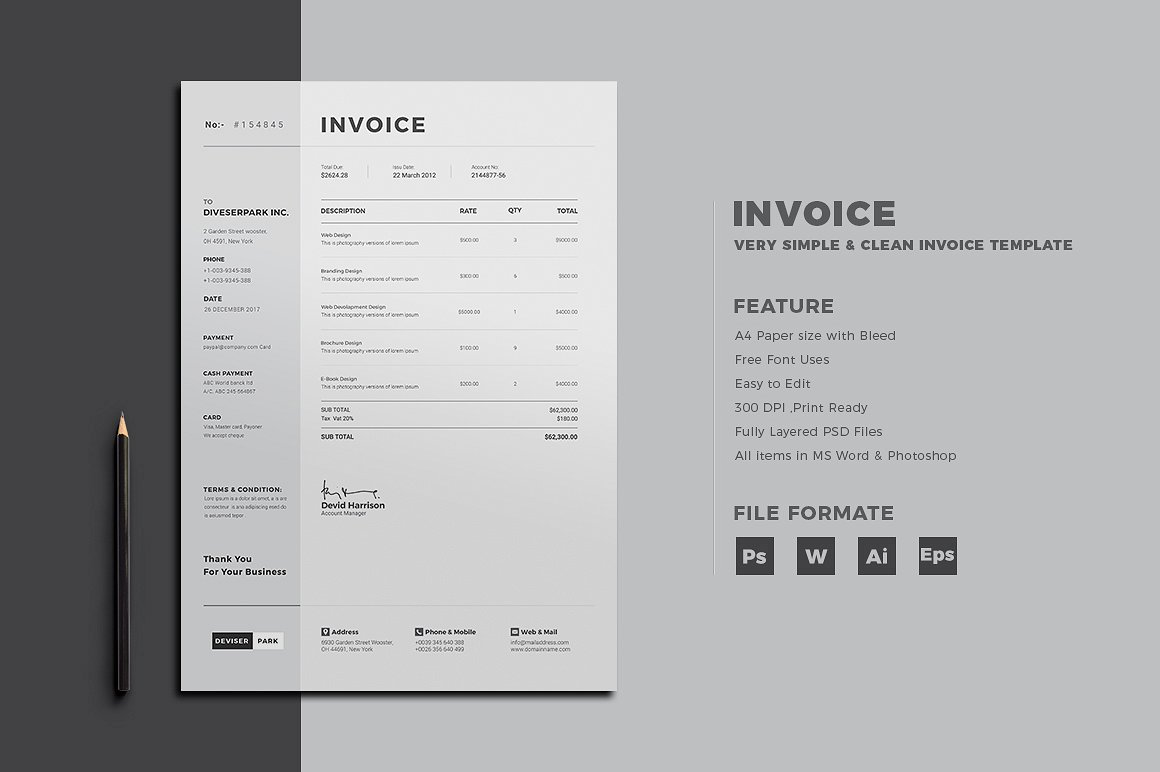 30  Simple  Customizable Invoice Templates   Decolore Net This Invoice is simple and clean  easy to be edited and designed to make  such a good impression  Minimalistic approach will highlight the  appropriate data