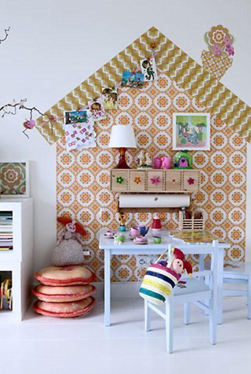 Ideas para decorar con papel pintado vintage decomanitas - Decorar pared con papel ...