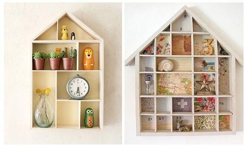 Ideas para decorar con una estanter a casita de madera - Casitas pequenas de madera ...