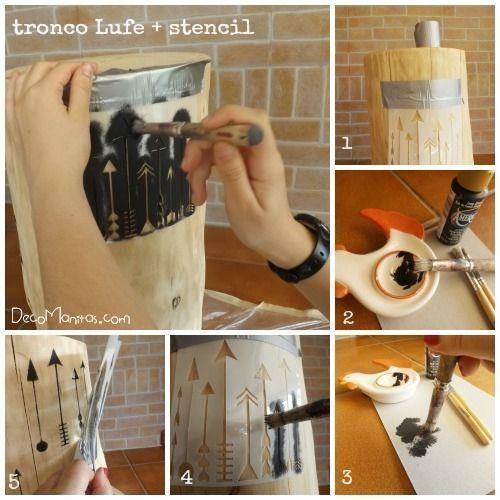 Sujetar la plantilla de stencil a la madera con cinta de carrocero