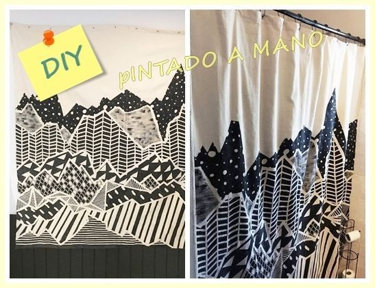 Cortinas De Baño Faciles De Hacer:Hacer cortinas y pintarlas con dibujos geométricos ¡Fácil