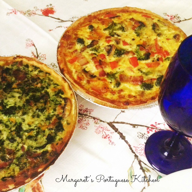 Smoked Bacon, broccoli quiche & chourico quiche