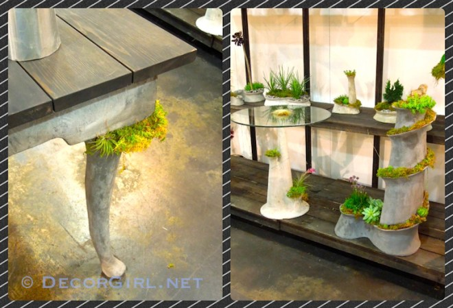 Cement furniture with planters