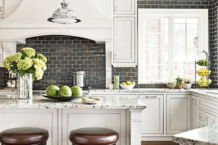 better homes and gardens beautiful white kitchen with shallow coffered ceiling and black full wall subway tiles
