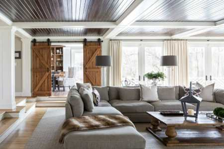 fall interior design trends faux fur throw in living room