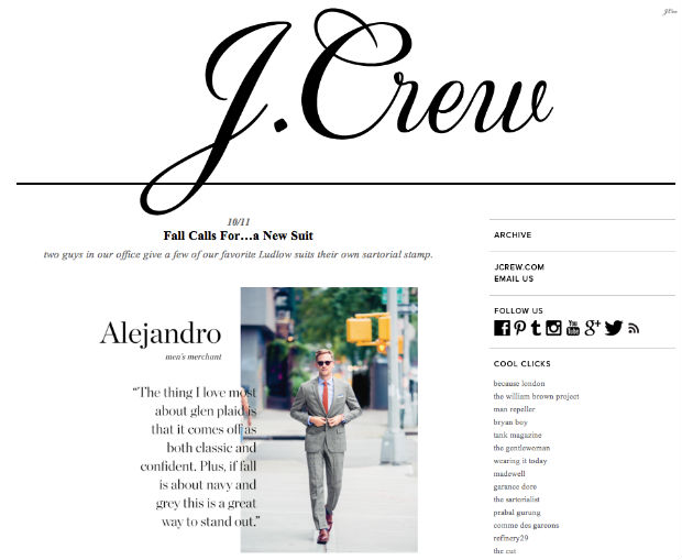 J.crewのtumblrブログ