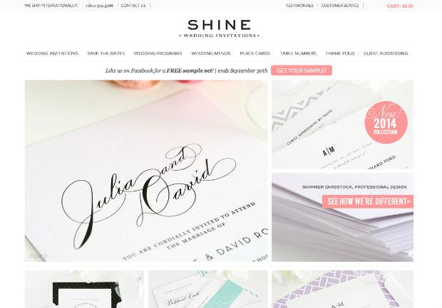 海外ウェディングサイト「Shine Wedding Invitations」
