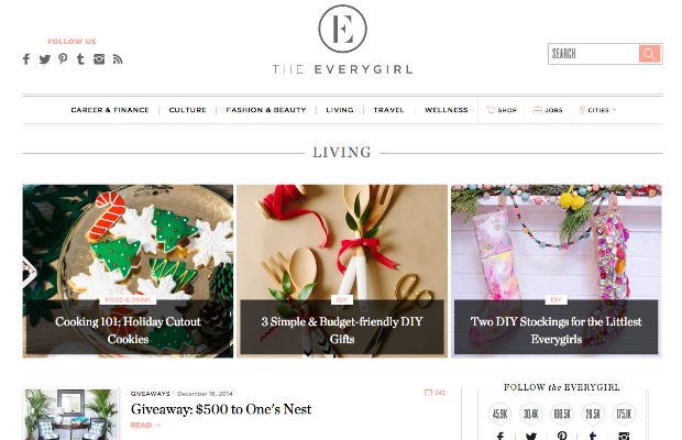 The Everygirlのウェブサイト