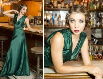1920s Green Satin Gown