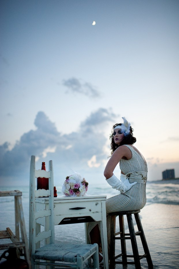 Vintage Beach Wedding || Art Deco Bride