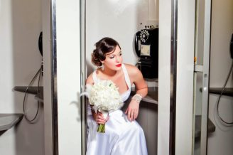 1930s Bride in Phone Booth