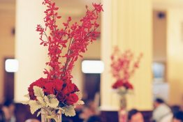 Red Deco Centerpieces || Joey + Justin