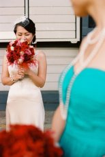 Vintage Bride + Red Bouquet
