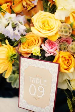 Art Nouveau Table Numbers || Art Nouveau Wedding Inspiration