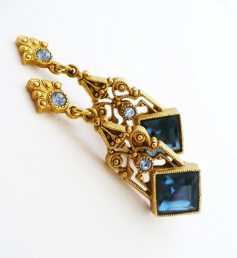 Blue Art Nouveau Earrings