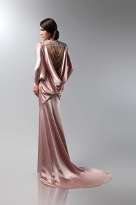 Draped Pink Satin Gown | Isabel Zapardiez