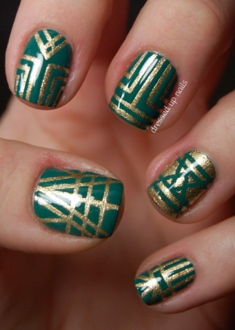 Green Art Deco Nails