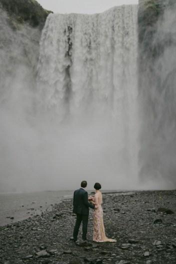 Iceland Waterfall   1920s Style Wedding