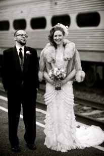 Vintage Train Wedding Portrait