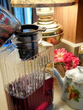 'Better Than Kool-Aid' Recipe, drinking soft drinks, candy with red coloring, blue coloring, yellow, orange, green coloring, addictive chemicals, sugar-free, straining off herbs, making herbal tea, alternative Kool-Aid,