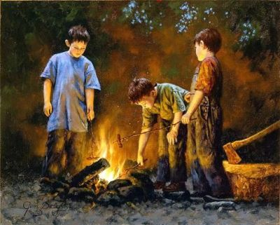 Are We Starving The Hearts Of Our Children?, boys roasting hotdogs, campfire, camping out, firelight, Jim Daly, painting, a child's life,