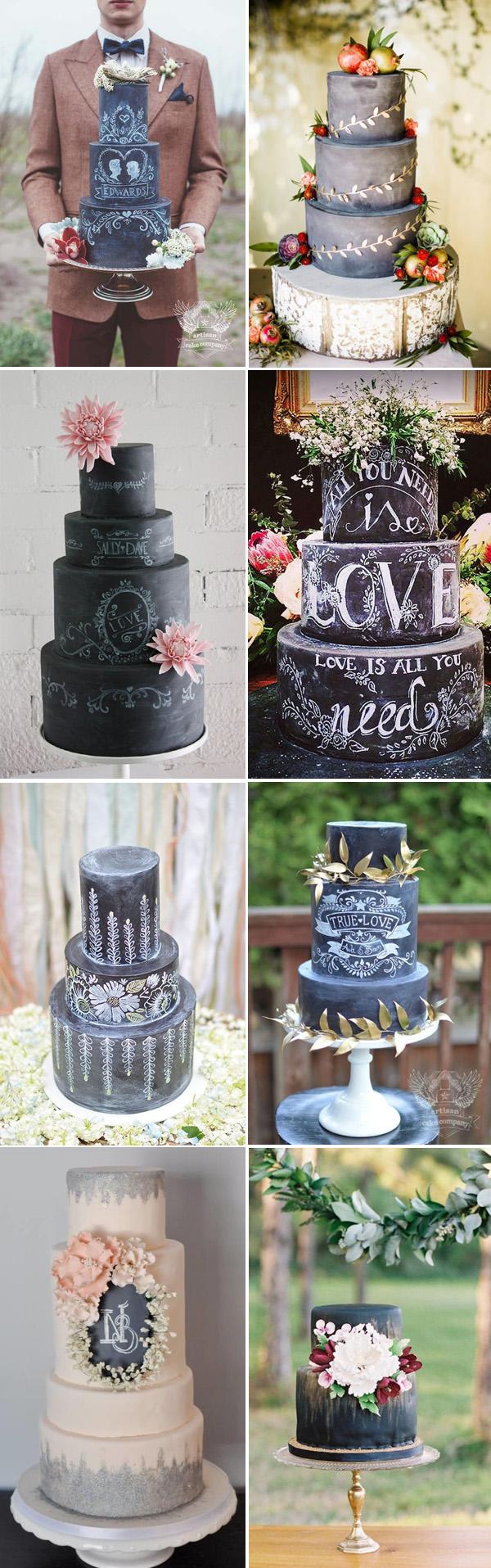 58 creative wedding cake ideas with tips wedding cakes ideas Rustic Wedding Cake Ideas Black and White Chalkboard Wedding Cakes