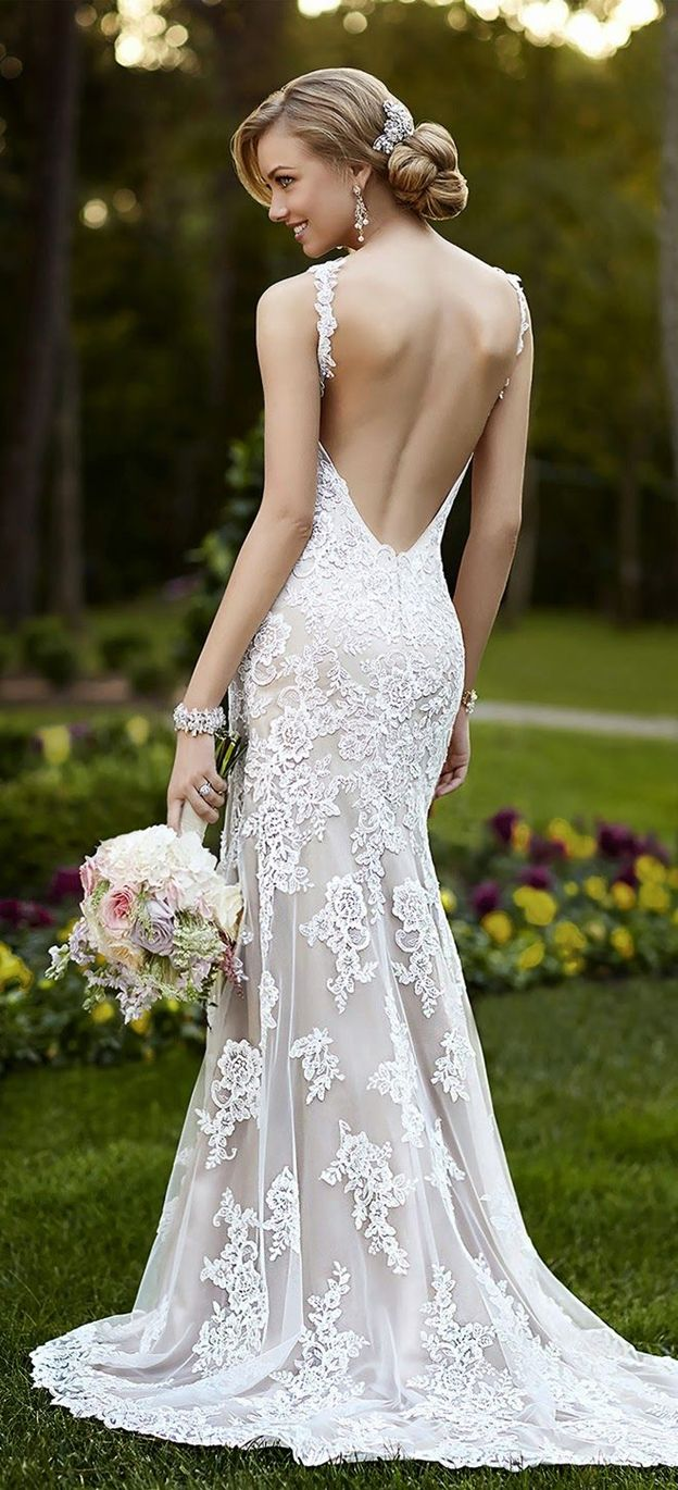 52 perfect low back wedding dresses mermaid lace wedding dress Open Back Mermaid Lace Wedding Dress