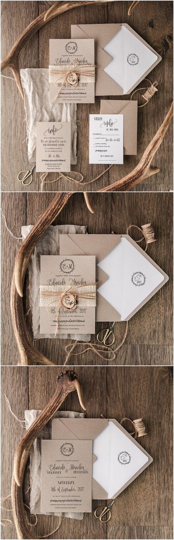 rustic wedding invitations rustic wedding invitation Burlap Wooden Rustic Wedding Invitation