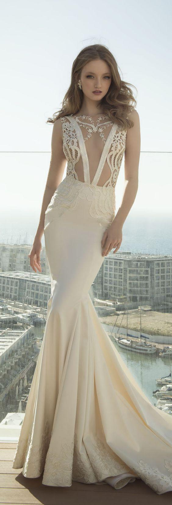 deep plunging v neck wedding dresses plunge wedding dress Designer Dany Mizrachi Dany Mizrachi V Neck Mermaid Wedding Dress